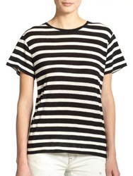 R 13 Striped Boy Tee Black White