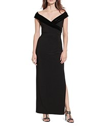 Ralph Lauren Velvet Trim Gown Black