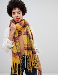 Stradivarius Brushed Check Scarf With Fringes Multi