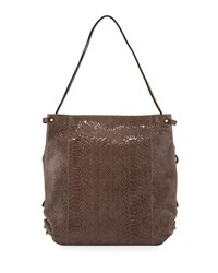 Jessica Embossed Leather Shoulder Bag Taupe Brown Oryany