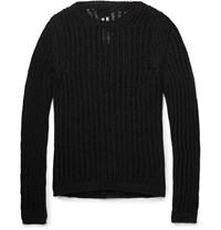 Rick Owens Slim Fit Open Knit Cotton Blend Sweater Black