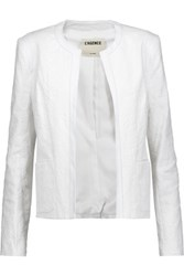 L'agence Leather Trimmed Cotton Blend Jacquard Blazer White