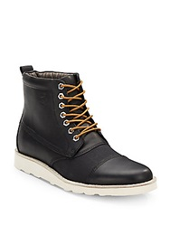 Original Penguin Walker Leather And Canvas Boots Black