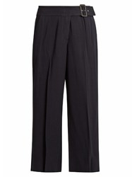 A.L.C. Emliy Cropped Wide Leg Crepe Trousers Navy