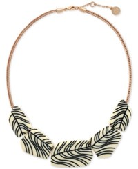 Vince Camuto Rose Gold Tone Large Engraved Acetate Stone Collar Necklace