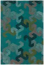 Chandra Jessica Swift Patterned Rectangular Designer Wool Area Rug 1 5' X 7'6 Teal White Black Pink Gold Blue