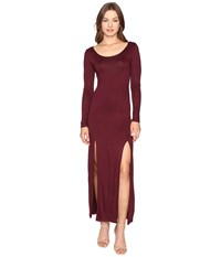 Culture Phit Gali Long Sleeve Maxi Dress With Slits Wine Women's Dress Burgundy