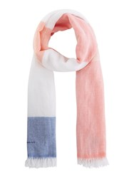 Gant Colour Block Striped Linen Scarf Pink