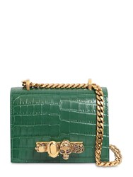 Alexander Mcqueen Sm Jeweled Satchel Croc Embossed Bag Emerald
