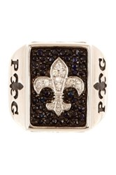 Rcg Sterling Silver Black And White Sapphire Fleur De Lis Symbol Engraved Ring