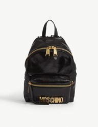 Moschino Logo Small Patent Leather Backpack Blk Gold