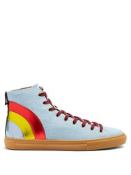 Gucci Major High Top Denim Trainers Blue Multi