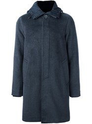 Emporio Armani Button Down Hooded Coat Grey
