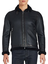 Kent And Curwen Double Face Leather Wool Trim Jacket Black