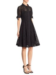 Rickie Freeman For Teri Jon Pleated Cotton Perforated Dress Black