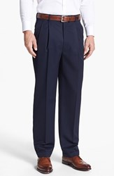 Men's Big And Tall Jb Britches Double Pleated Super 100S Worsted Wool Trousers Navy