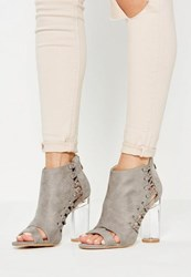 Missguided Grey Whipstitch Clear Heel Ankle Boots