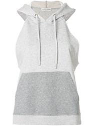 Each X Other Text Print Sleeveless Hoodie Grey