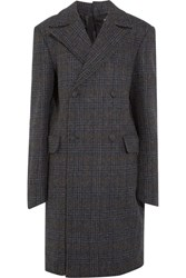 Y Project Oversized Double Breasted Checked Wool Coat Charcoal