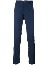 Incotex Wrinkled Slim Trousers Men Linen Flax Wool 32 Blue