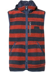 Prps Sleeveless Striped Hoodie Blue