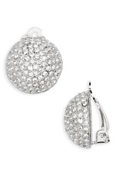 Nina Women's Clip Crystal Earrings Silver