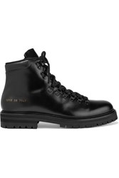 Common Projects Glossed Leather Ankle Boots Black