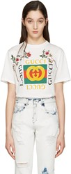 Gucci White Embroidered Logo T Shirt