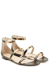 Tamara Mellon Embossed Leather Flat Sandals With Metallic Straps Green