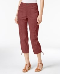 Style And Co Petite Bungee Hem Cargo Capri Pants Only At Macy's Terracotta