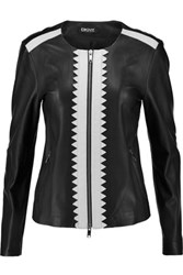 Dkny Laser Cut Trimmed Leather Jacket Black