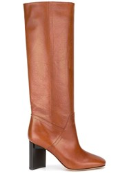 Maison Martin Margiela Brushed Effect Knee High Boots Brown