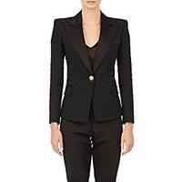 Balmain Women's Diamond Pattern Jacquard Jacket Black Blue Black Blue