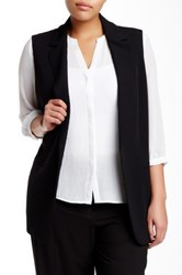 Modern American Designer Notch Collar Long Vest Plus Size Black