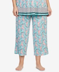 Ellen Tracy Plus Size Printed Cropped Pajama Pants Seafoam Print