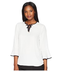 Ivanka Trump Georgette Bell Sleeve Contrast Piping Blouse Ivory Navy White
