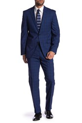 Vince Camuto Plaid Print Slim Fit Wool 2 Piece Suit Navy Plaid