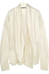 Haider Ackermann Draped Silk Satin Blouse Ivory