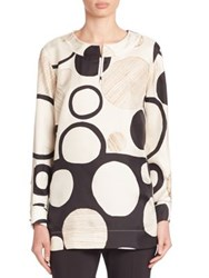 Piazza Sempione Circle Print Silk Tunic Black Ivory