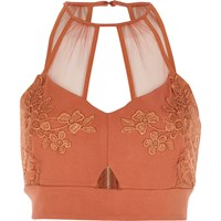 River Island Womens Dark Pink Lace And Mesh Bralet