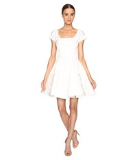 Zac Posen Party Jacquard Short Sleeve Fit And Flare Dress White Women's Dress