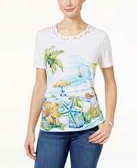 Alfred Dunner Woven Trim Beach Graphic Top Multi