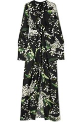 Oscar De La Renta Draped Floral Print Silk Twill Maxi Dress Black