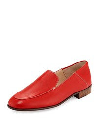 Gravati Flat Leather Smoking Loafer Red