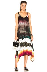 Acne Studios Saleh Dress In Abstract Green Ombre And Tie Dye Pink Abstract Green Ombre And Tie Dye Pink
