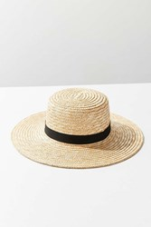 Urban Outfitters Straw Ribbon Trim Boater Hat Tan