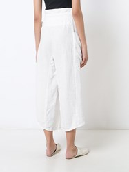 Osklen Belted Cropped Trousers Women Linen Flax 36 White