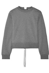 Alexander Wang T By Tie Back Cropped French Cotton Terry Sweatshirt Anthracite