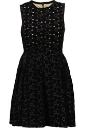 Goen J Embroidered Velvet Mini Dress Black