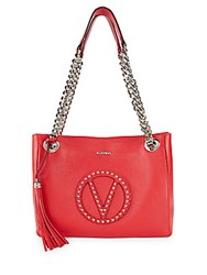 Valentino By Mario Valentino Luisa Studded Leather Tote Bag Goji Berry